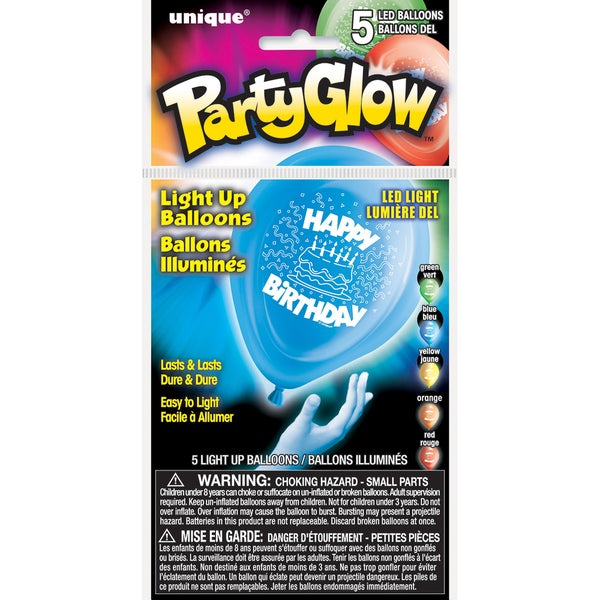 Light Up Balloons 5/Pkg-Happy Birthday
