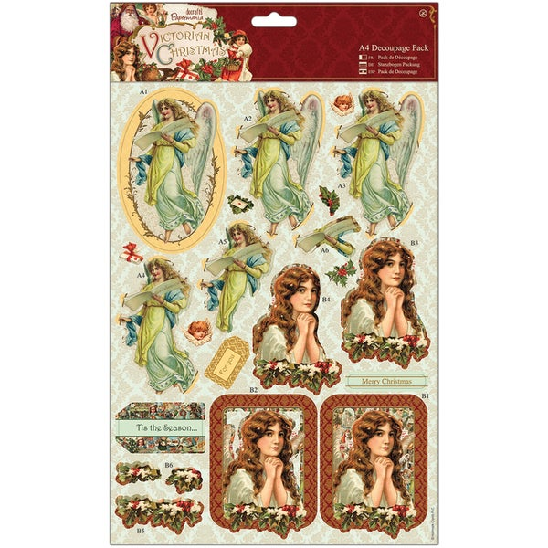 Papermania Victorian Christmas A4 Decoupage Pack-Cherubs