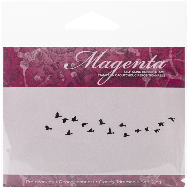"Magenta Cling Stamp .75""X3""-Flock Of Geese"