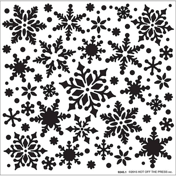 "Hot Off The Press Stencils 6""X6""-All Over Snowflakes"