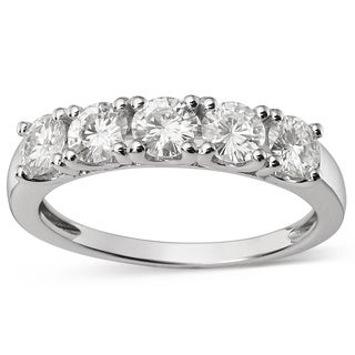 Charles and Colvard 14k White Gold Forever Brilliant Moissanite Five-stone Bridal Ring