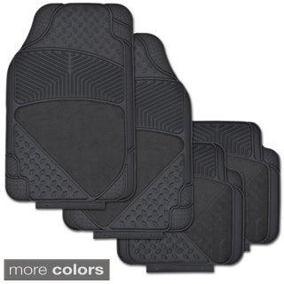 BDK Set of 4 Diamond Ridged Rubber Mats with Carpet Heel Padding