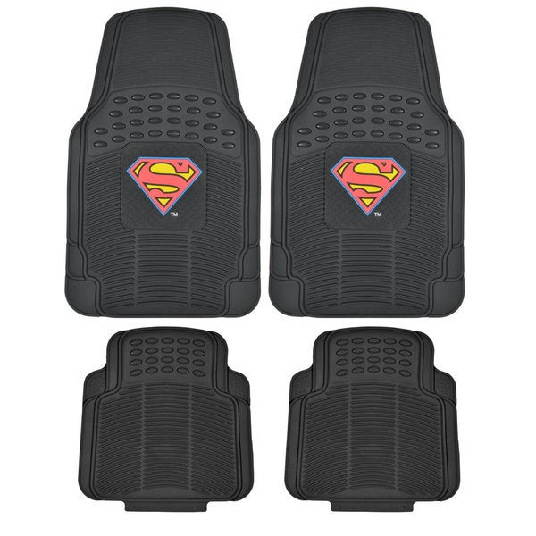 BDK Superman Rubber Floor Mats 4-Piece Officially Licensed Products 14362647