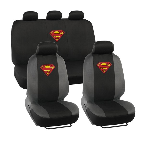 BDK Superman Car Seat Covers - Full Set Plus Steering Wheel Cover and Belt Pads