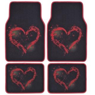 BDK Red Heart Design 4-piece Car Floor Mats (Universal Fit)
