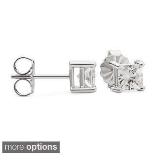 Charles & Colvard 14k Gold 0.82 TGW Square Forever Brilliant Moissanite Stud Earrings
