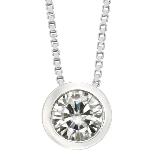 Moissanite by Charles & Colvard 14k Gold 0.50 TGW Round Solitaire Pendant