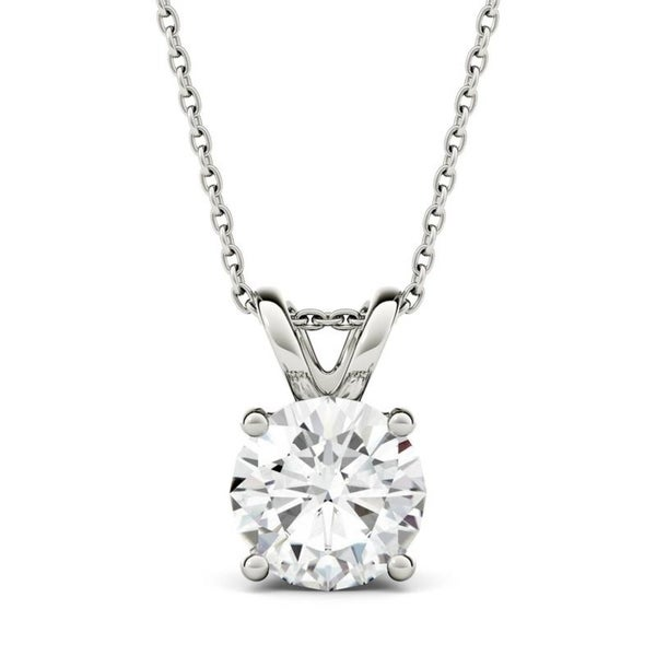 Moissanite by Charles & Colvard 14k Gold 1.90 TGW Round Solitaire Pendant -  ADULT