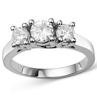 Charles & Colvard 14k Gold 0.96 TGW Round Forever Brilliant Moissanite 3-Stone Ring
