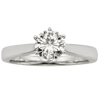 Charles and Colvard 14k Gold 1.00 TGW Round Forever Brilliant Moissanite Solitaire Ring
