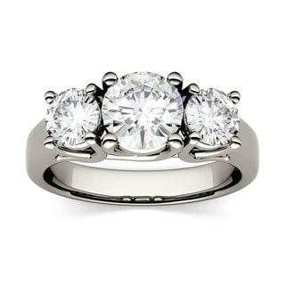 Charles and Colvard 14k White Gold 1/2ct TGW Forever Brillant Moissanite Three Stone Ring