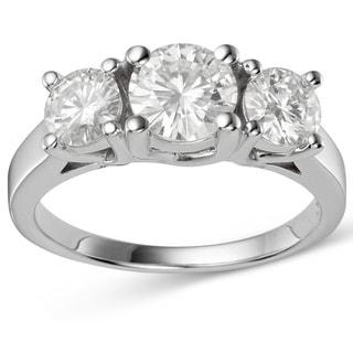 Charles and Colvard 14k White Gold 2 1/10ct TGW Forever Brillant Moissanite Three Stone Ring