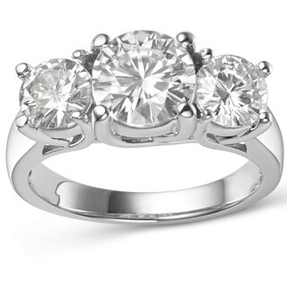 Charles and Colvard 14k White Gold 2 7/8ct TGW Forever Brillant Moissanite Three-stone Ring