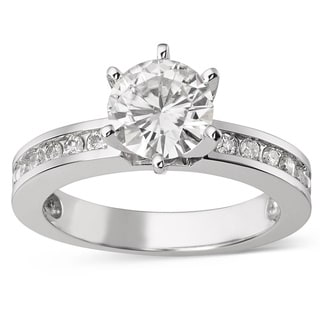 Charles & Colvard 14k Gold 1.70 TGW Round Forever Brilliant Moissanite Solitaire Ring with Sidestones