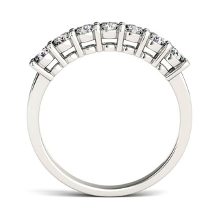Charles and Colvard 14k White Gold Forever Brillant Moissanite Seven-stone Bridal Ring