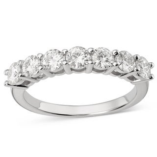Charles and Colvard 14k White Gold 1/6ct TGW Forever Brilliant Moissanite Seven-stone Bridal Ring