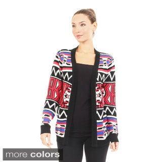 Bacci Women's Tribal Pattern Inspired Open Cardigan