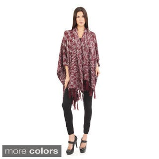 Bacci Women's Blended Melange Fringed Bottom Trim Sweater