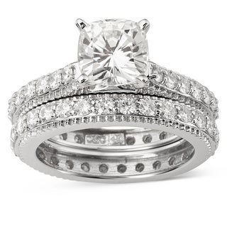 Charles and Colvard 14k White Gold 1 3/4ct TGW Forever Brilliant Moissanite Bridal Set