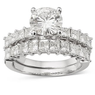 Charles and Colvard 14k White Gold 2ct TGW Forever Brilliant Moissanite Bridal Set