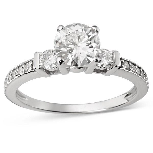 Charles & Colvard 14k Gold 1.32 TGW Round Forever Brilliant Moissanite 3-Stone Ring 14363248