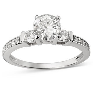 Charles and Colvard 14k White Gold 1 1/10ct TGW Forever Brilliant Moissanite Three-stone Engagement Ring