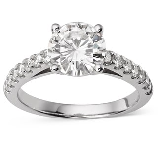 Charles & Colvard 14k Gold 2.32 TGW Round Forever Brilliant Moissanite Solitaire Ring with Sidestones