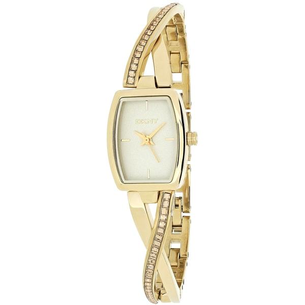DKNY Women's NY2237 Crosswalk Yellow Goldtone Crystal Glitz Watch