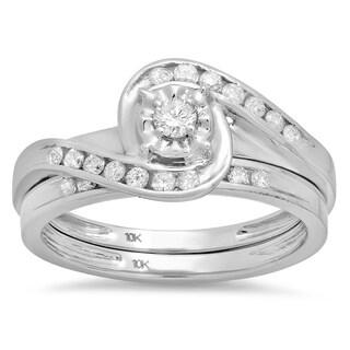 10k White Gold 1/2ct TDW Diamond Bridal Engagement Ring Matching Band Set