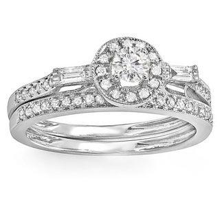 14k White Gold 1/2ct TDW Round and Baguette Diamond Bridal Ring Set (H-I, I1-I2)