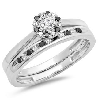 10k White Gold 2/5ct TDW Round Black and White Diamond Bridal Halo Engagement Ring (H-I, I1-I2)