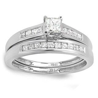 14k White Gold 3/4ct TDW Princess Diamond Bridal Ring Set (H-I, I1-I2)