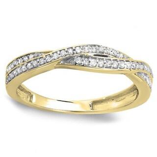10K Yellow Gold Round 1/4ct TDW Diamond Anniversary Wedding Band Swirl Matching Ring