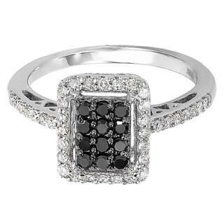 10k White Gold 1/2ct TDW Black and White Diamond Ring (H-I, I1-I2)