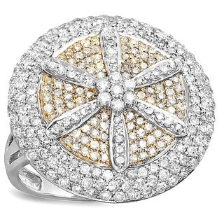 14k White & Yellow Gold 2 1/6ct TDW Diamond Pave Cocktail Ring
