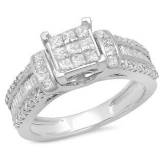 14k White Gold Pave 1.25ct TDW Diamond Bridal Engagement Ring