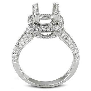 18k White Gold Diamond Semi Mount Ring (No Center Stone)