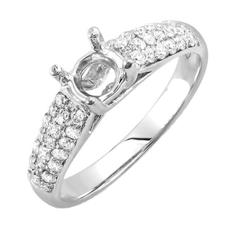 14k White Gold 1/2ct TDW Diamond Pave Semi Mount Engagement Ring (H-I, I1-I2)