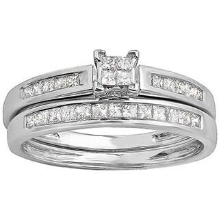 14k White Gold 3/4ct TDW Princess Invisible Diamond Bridal Ring Set (H-I, I1-I2)