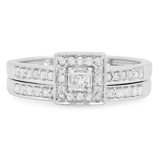 14k White Gold 1/2ct Princess Diamond Bridal Ring Set