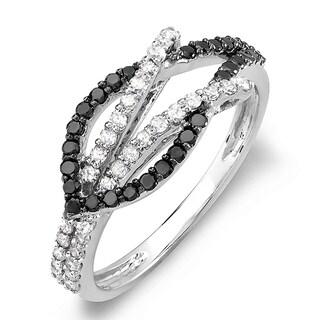 14k White Gold TDW 1/2ct Black and White Diamond Ring (H-I, I1-I2)