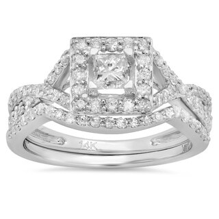 14K White Gold Princess 1ct TDW Diamond Bridal Set