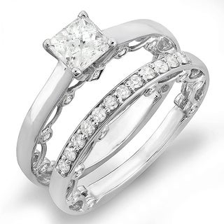 14k White Gold 1 1/2ct TDW Round Diamond Bridal Ring Set (H-I, I1-I2)