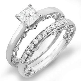 14k White Gold 1 1/2ct TDW Round Diamond Bridal Ring Set (H-I, I1-I2)