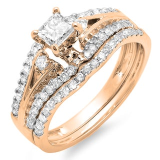 14k Rose Gold 1 1/6ct TDW Princess and Round Diamond Bridal Ring Set (I-J, I1-I2)