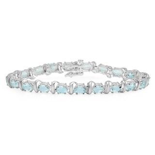 Sterling Silver oval-cut Aquamarine Link Bracelet