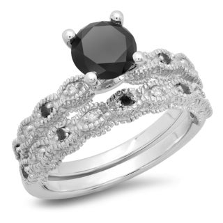 14k White Gold 1 2/5ct TDW Round-cut Black and White Diamond Bridal Vintage-style Engagement Ring (H-I, I1-I2)