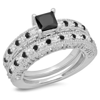 Sterling Silver 1 4/5ct TDW Black and White Diamond Bridal Ring Set (I-J, I2-I3)