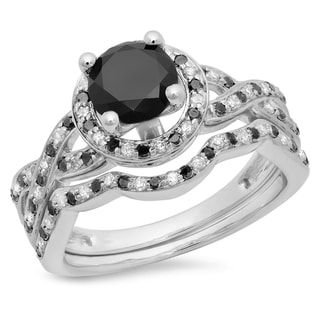 14k White Gold 1 3/5ct TDW Round Black and White Diamond Halo Bridal Engagement Ring (H-I, I1-I2)