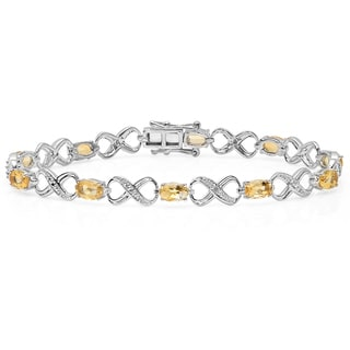 Sterling Silver 4 1/4ct TDW Oval-cut Citrine and Round-cut White Diamond Infinity Bracelet (I-J, I2-I3)